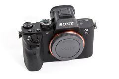 27. 10. 2015, BERLIN, GERMANY: Sony Alpha a7R II ILCE-7RM2 Mirro. Rless Digital Camera Body and lens. With a world's first full-frame 42.4-megapixel Exmor R back royalty free stock image