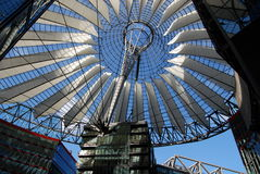 Berlin, Germany: SONY Building Roof. The futuristic SONY headquarters building with its outstanding fibreglass elliptical roof in historic Potsdamer Platz in Royalty Free Stock Image