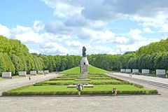 BERLIN, GERMANY.  The Soviet military memorial in Treptov-park in the summer afternoon Stock Image