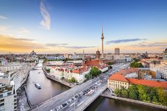 Berlin, Germany Spree River Skyline Stock Image