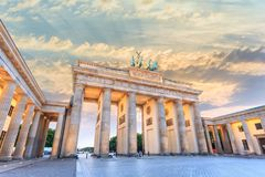 Berlin Germany. Berlin sunset city skyline at Brandenburg Gate Brandenburger Tor, Berlin, Germany Stock Images