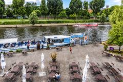 Berlin, Germany 6 th july, 2018. From a high point of view, view of a mooring where boats moor in the river Spree. In the foregrou Royalty Free Stock Photo