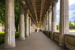 Berlin Germany 10 th July, 2018 View of the entrance with its many columns from the Pergamon museum museum island Berlin. Next to the corridor is a part of the stock image