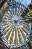 Berlin, Germany 8 th July 2018. A view of the roof structures and buildings, inside the Sony Center at Potsdammer square, against. Berlin, Germany 8 th July 2018 stock image