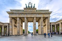 Berlin, Germany 16th May 2018. view of the Brandenburg Gate, on a beautiful clear day in the spring Royalty Free Stock Images
