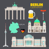 Berlin Germany Travel Doodle con Berlin Architecture, birra e la bandiera Fotografie Stock