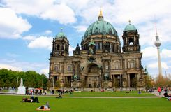Berlin, Germany TV Tower & Cathedral Stock Photo