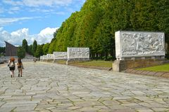 BERLIN, GERMANY. A view of the avenue of sarcophagi of the Soviet military memorial in Treptov-park Royalty Free Stock Photos