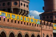 14.05.2019. Berlin, Germany. A view of old Warsaw gate from a red brick the subway remade under a stop. royalty free stock photo