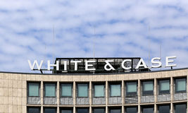 Berlin, Germany. The White & Case logo Stock Photos