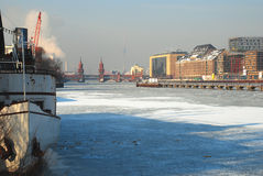 Berlin, Germany in Winter. Frozen river Spree. Winter feeling by the frozen Berlin river Spree, Germany royalty free stock images