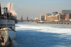 Berlin, Germany in Winter. Frozen river Spree Royalty Free Stock Images