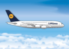 BERLIN, GERMANY, YEAR 2017, Lufthansa airline passenger line Stock Image