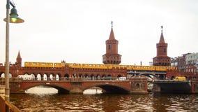 Berlin, Germany: Yellow subway train on famous Oberbaum bridge. Berlin, Germany: Yellow subway train on Oberbaum bridge Royalty Free Stock Image