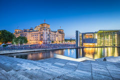 Berlin government district with Reichstag building at dusk, Germany Stock Image