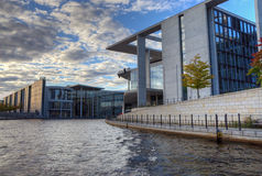Berlin Government District. At sunset. View from the river Spree Stock Photography