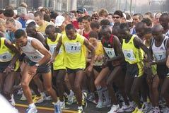 Berlin halfmarathon 2009 runners. The runners at the Berlin Halfmarathon 2009 at the start Stock Photo