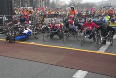 Berlin halfmarathon 2009 wheel chairs. The start of the handicapped athletes with wheelchairs and handcycles Royalty Free Stock Image