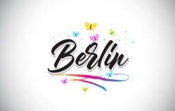 Berlin Handwritten Vetora Word Text com borboletas e Swoosh colorido ilustração stock