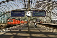 Berlin Hauptbahnhof. Is the main railway station in Berlin, Germany. It is located on the site of the historic Lehrter Bahnhof. Station on Juni 28, 2012 Stock Photos