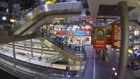 Berlin Hauptbahnhof - central railway station in B. BERLIN, GERMANY - NOVEMBER 10, 2013: Passengers waiting trains at Berlin Central railway station on November stock video footage