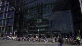 Berlin Hauptbahnhof, Central Railway Station, Main Entrance, Outdoors View. Berlin Hauptbahnhof, Germany, April 14 2018: Central Railway Station modern stock video