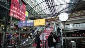 Berlin Hauptbahnhof Main Railway Station, Train Arriving People Escalator Stairs. Berlin Hauptbahnhof, Germany, April 14 2018: S-Bahn train arriving, commuters stock footage