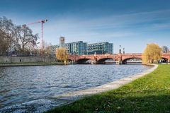 Berlin Hauptbahnhof with Moltke Bridge and river Spree. Royalty Free Stock Photography