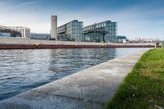 Berlin Hauptbahnhof with river Spree. Royalty Free Stock Photography