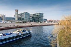 Berlin Hauptbahnhof with river Spree. Stock Photos