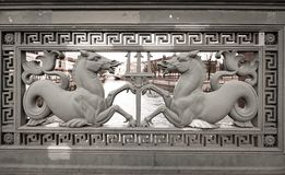 Two horses Berlin coat of arms bridge old heraldry. Berlin heraldry , two horses historic bridge coat of arms. Travel Germany landmarks, Europe tourism stock photos