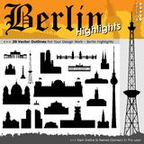 20 Berlin Highlights - Black Silhouettes with Real Size Proportions. 20 Berlin Highlights - Building Outline Set - Black Silhouettes with Real Size Proportion stock illustration