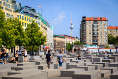 Berlin Holocaust monument and TV tower Stock Photography