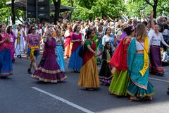 Carnival of Cultures. Berlin. Germany. BERLIN - JUNE 09, 2019: The annual Carnival of Cultures Karneval der Kulturen celebrated around the Pentecost weekend royalty free stock image