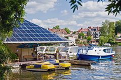 Berlin Koepenick. Solar filling station for boats on the river Dame Royalty Free Stock Photography