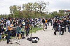 Berlin Kreuzberg, labor day with young crowd Royalty Free Stock Photography