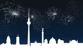 Berlin la nuit au réveillon de la Saint Sylvestre illustration de vecteur
