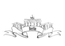 Berlin label. Travel Germany symbol. Famous german architectural Stock Photography