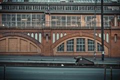 Berlin śladu kolej przed ceglanym domem Zdjęcia Royalty Free