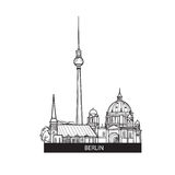 Berlin landmarks label. Travel Germany sign. Famous german city buildings skyline Stock Photo