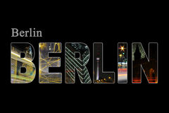 Berlin letters with sightseeing points Royalty Free Stock Images