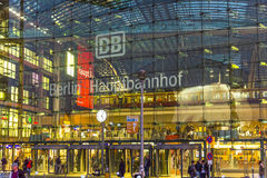Berlin main station frontview in Berlin by night Stock Photos