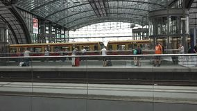 Berlin Main Station Tracks stock video footage