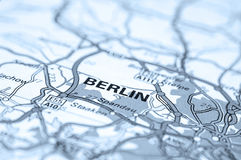 Berlin Map. Macro of map showing Berlin, Germany. Differential focus with shallow depth of field. Cool filter applied post production royalty free stock photo