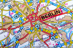 Berlin map. The city of  Berlin in detail on the map Stock Photos