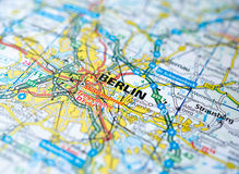Berlin on map. Close up shot of Berlin Germany on a map Stock Images