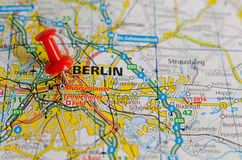 Berlin on map. Close up shot of Berlin Germany on a map with red push pin Royalty Free Stock Photography