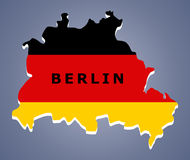 Berlin map Germany. Berlin map with German flag inside vector illustration