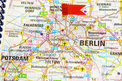 Berlin on the map of Germany Royalty Free Stock Images