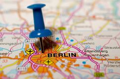 Berlin on map. Macro shot of Berlin on map with push pin Royalty Free Stock Photos